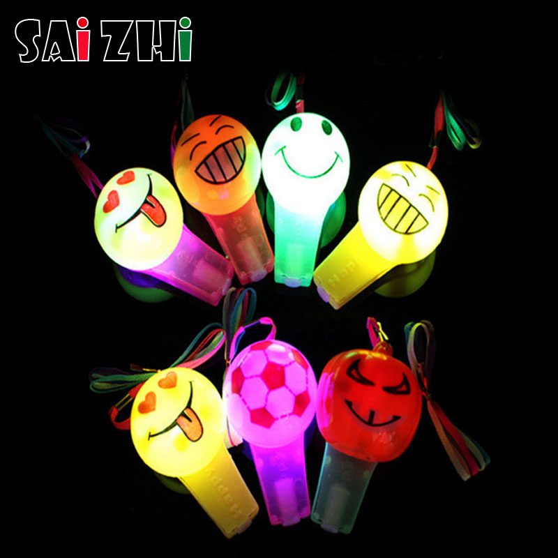 Novelty & Gag Toys Saizhi 1pc Luminous Whistle Toys Flashing Whistle Colorful Led Light Up Fun In The Dark Party Toys Rave Light Stick Toy For Kids Cleaning The Oral Cavity.