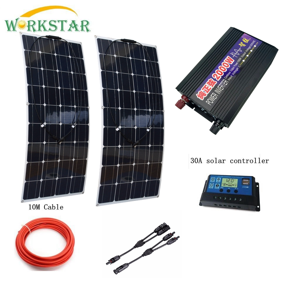 2*100W Flexible Solar Panel with 12V/24V 30A Solar Charger Controller and 2000W Pure Sine Wave Inverter 300W solar System 4pcs 100w flexible solar panel with mppt 30a controller and mc4 y connectors for 12v battery solar charger houseuse solar kit