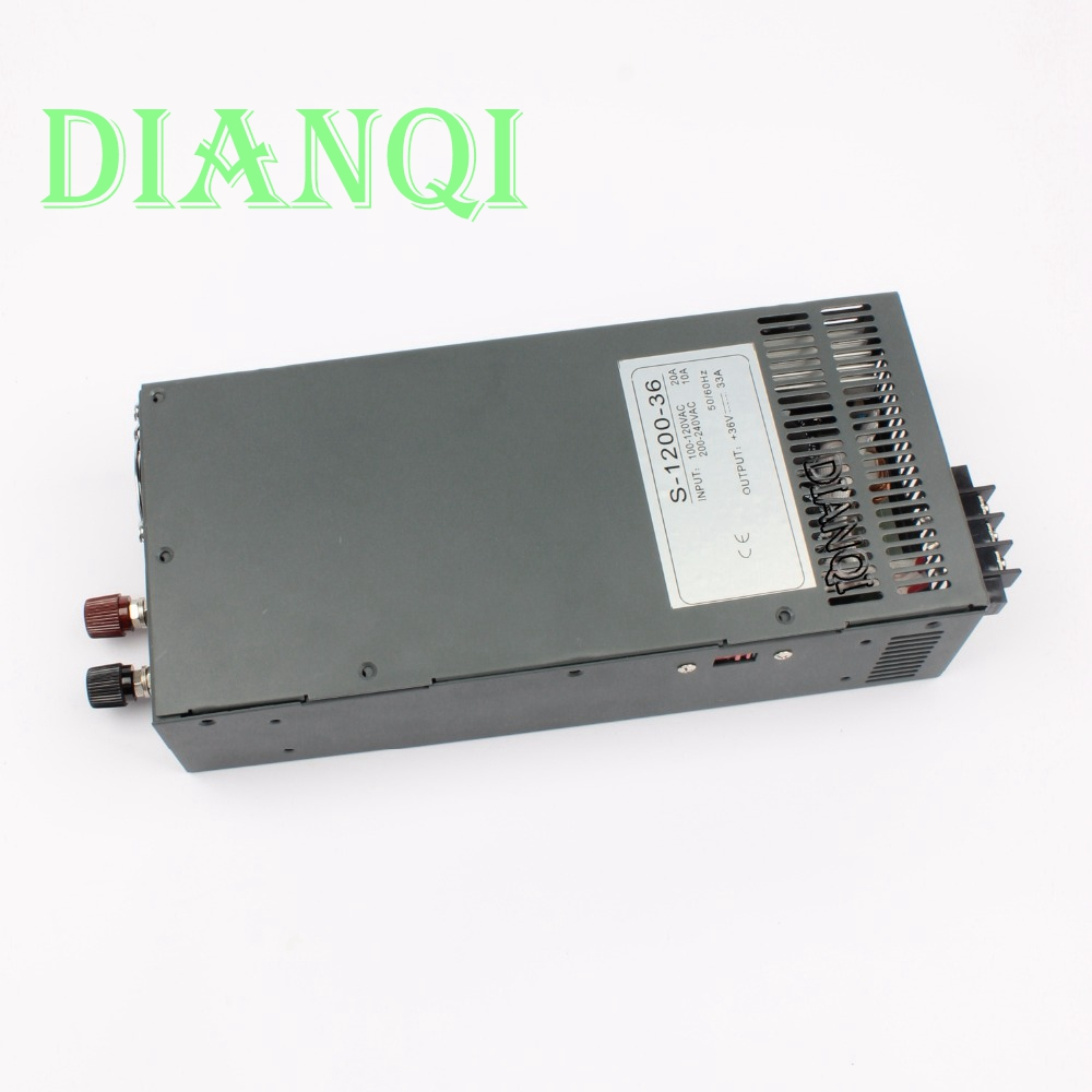 s-1200-36 1200W 36V 33a Switching power supply input 110v or 220v for LED Strip light AC to DC power suply 1200w power supply 201w led switching power supply 85 265ac input 40a 16 5a 8 3a 4 2a for led strip light power suply 5v 12v output