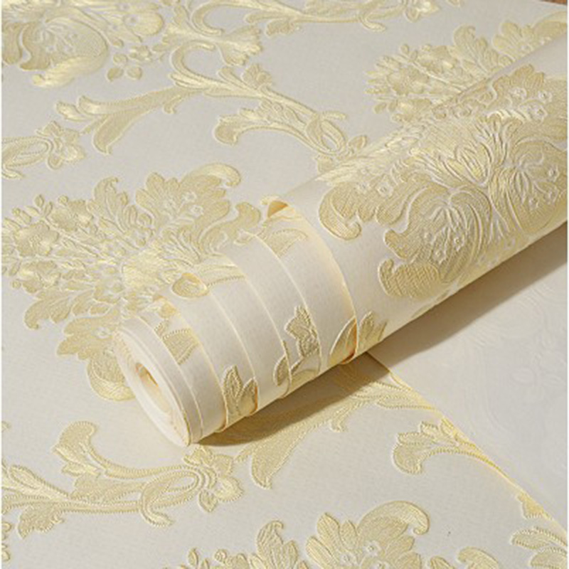 European Style Non-Woven Wallpaper 3D Stereo Embossed Flower Luxury Wallpaper Living Room Bedroom Backdrop Wall Papel De Parede