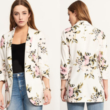 Spring Summer Street Sexy White Print Flowers Casual Blazers Three Quarter Sleeved  Female Jacket