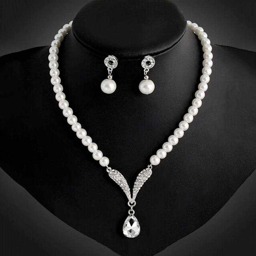Vintage African Beads Simulated Pearl Wedding Jewelry Sets Bijoux Necklace Water Drop Earrings Bridal India Jewelry For Women