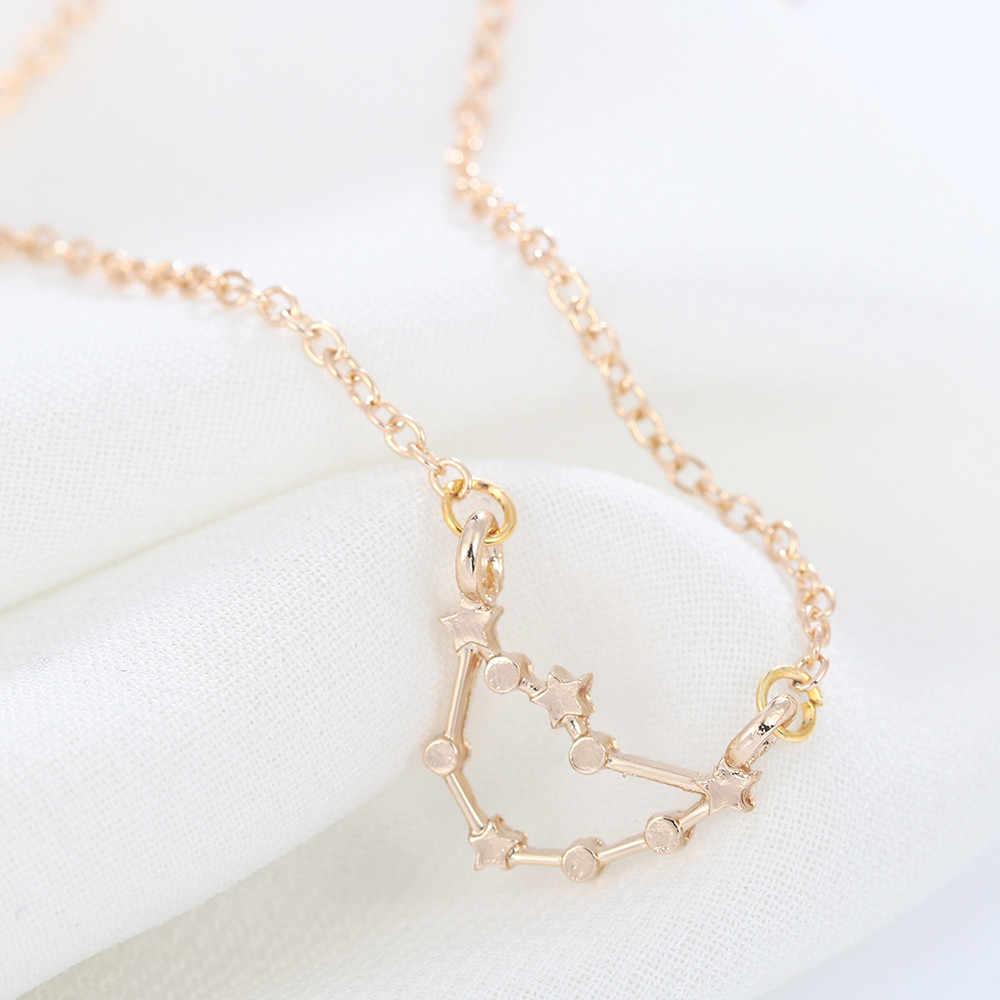 Kinitial אופנה 12 קונסטליישן קסם גלגל המזלות כוכבים סימן תליון שרשרת הצהרת שרשרת שרשראות נשים תכשיטי מתנות