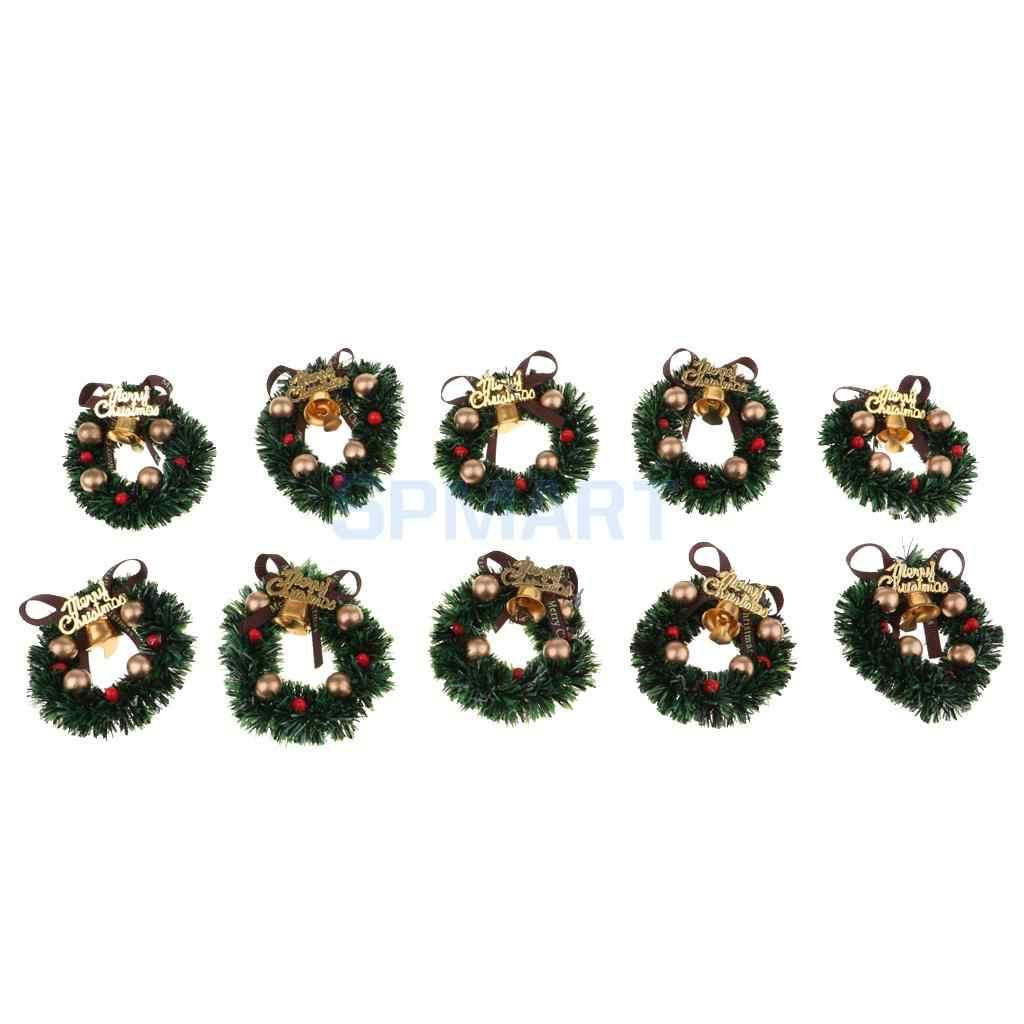 مصغرة أكاليل أعياد الميلاد الإبداعية عيد الميلاد الفن لوازم ل 1/12 دمية عيد الميلاد الحرف و ديكورات الحائط 10 قطع