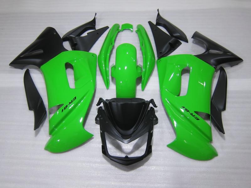 Free customize fairing kit for Kawasaki Ninja 650R 06 07 08 green black fairings set 650r 2006 2007 2008 OW04 abs plastic fairings for kawasaki ninja zx6r 2005 2006 green black motorcycle fairing kit zx6r 05 06 ty32