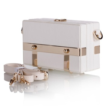 Cream White Trinket Storage Bag Leather