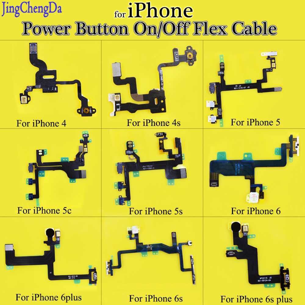 JCD кнопка включения выключения питания Flex с кабелем Выключение звука Переключатель Соединительная Лента Запчасти для iPhone 4 4S 5 5S 5C 6 6s 6s Plus