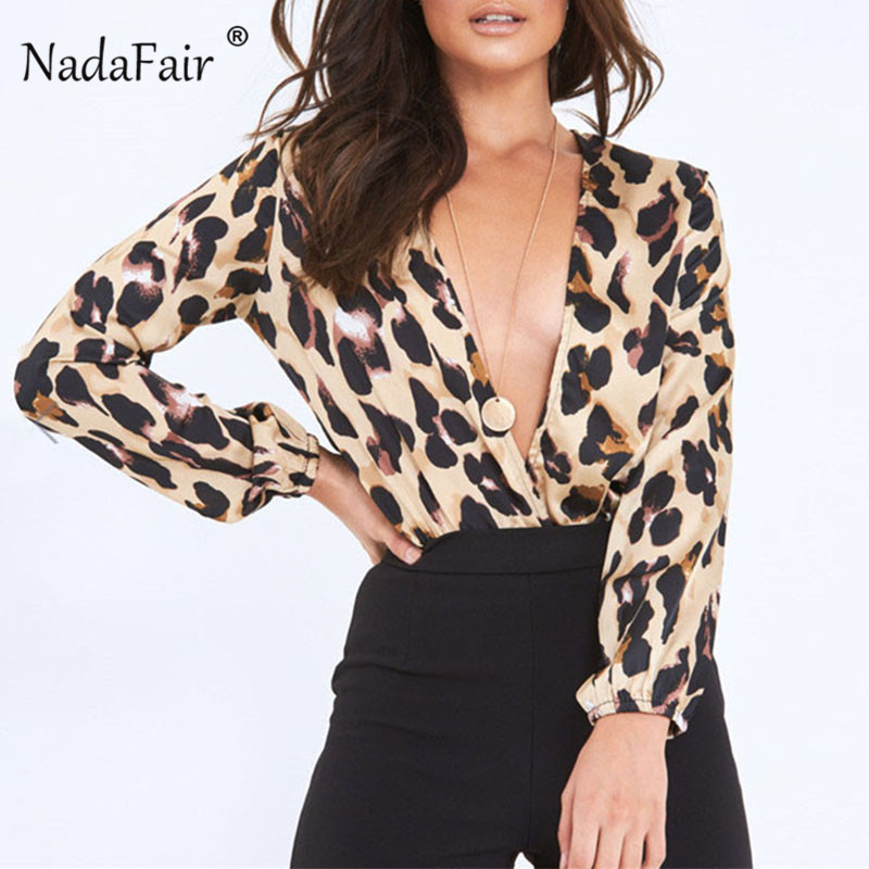 Nadafair Long Sleeve V Neck Body Women Bodysuit 2019 Autumn Winter Romper Jumpsuit Club Party Print Leopard Sexy Bodysuit Female