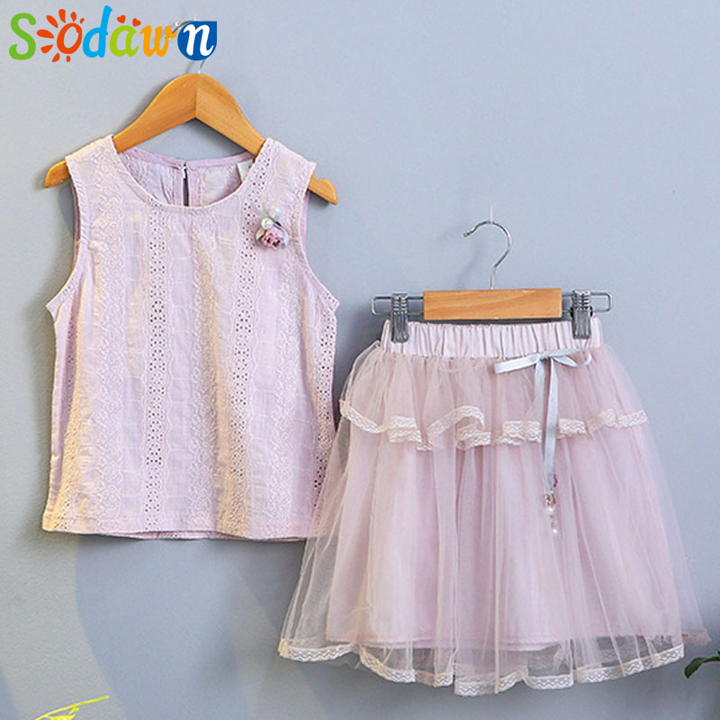 Sodawn Children Clothes Girls Clothes Suit 2018 Summer New Fashion Cotton Short-sleeved Flower T-shirt +Princess yarn Dress 2pcs