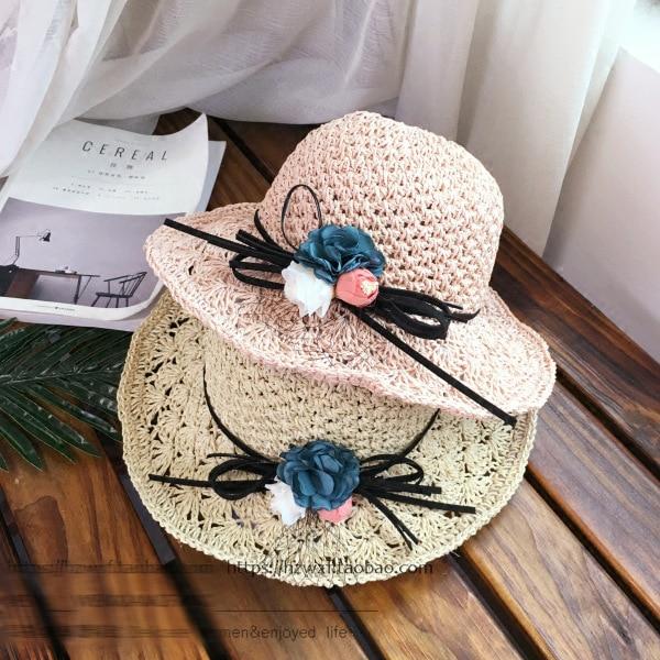 2018 Nova Moda Mãe e Filha Chapéu Lady Ampla Grande chapéu da Borda Floppy  Summer Beach 3b8553bc1a8
