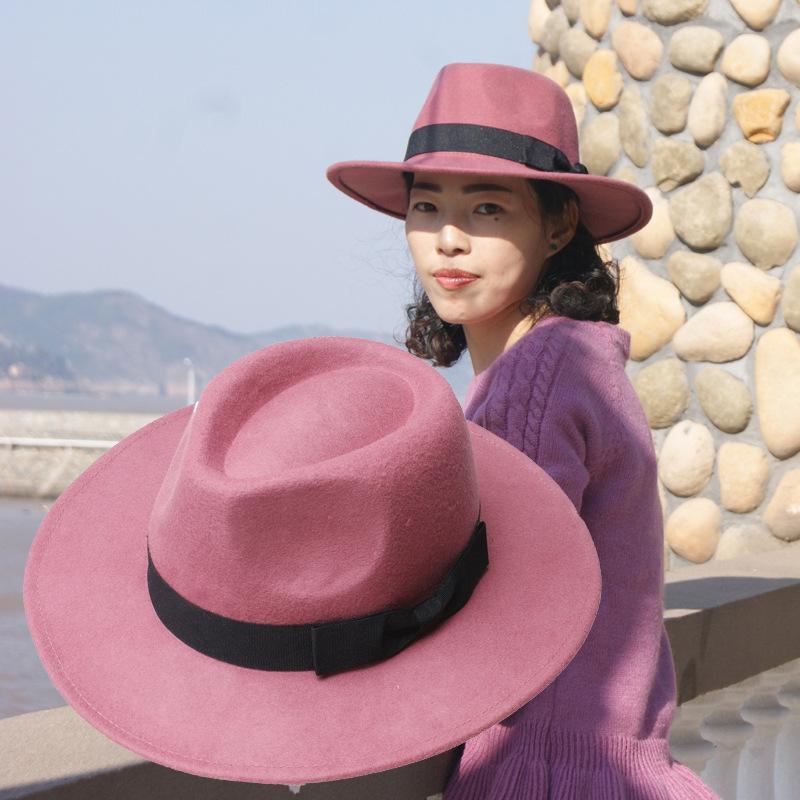 COKK 100 Wool Fedora Pink Hat Women Autumn Winter Hats For Ladies Top Hat Brand Designer Vintage Hat Chapeau Femme British 2019 in Women 39 s Fedoras from Apparel Accessories