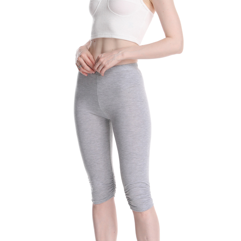 Capri   Leggings   High Waist Knee-Length Casual Skinny Gym Fitness Women Summer   Leggings   Solid Big Size 2019