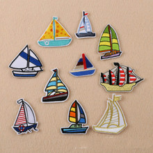 100pcs/lot  embroidery patches for clothing fashion small sailing boat sewing accessories