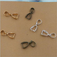 30pcs 6x15mm Necklace Pinch Clips Bails Connector Pendant Clasps Silver/Gold/Bronze for DIY Handmade Jewelry Making Accessories