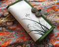 New National Ethnic hand-painting wallet Chinese style cotton cloth purse orchid pattern long wallet clutch