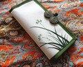 New National Ethnic mão-pintura carteira estilo Chinês tecido de algodão bolsa orchid padrão longo carteira de embreagem