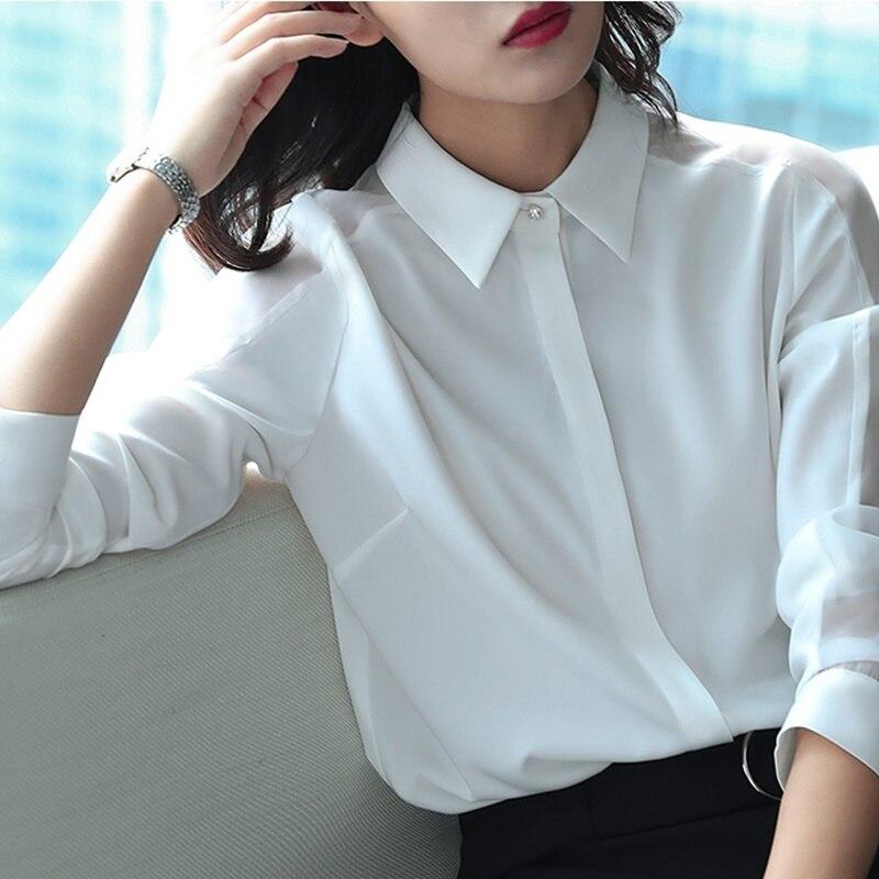 Ol женские топы и блузки деловая Рабочая одежда летняя Однотонная рубашка размера плюс с длинным рукавом Женская корейская модная женская одежда DD2081 - 5