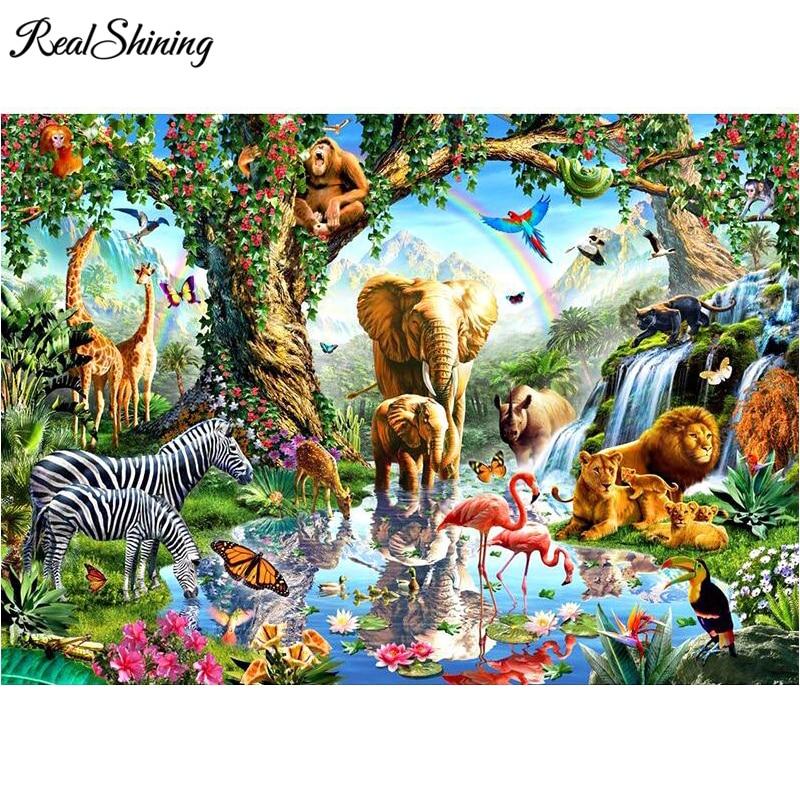 REALSHINING mazayka Full 5D Diy Daimond Painting Cross-stitch Elephants,Flamingo,Zebra Diamond Embroidery FS1660