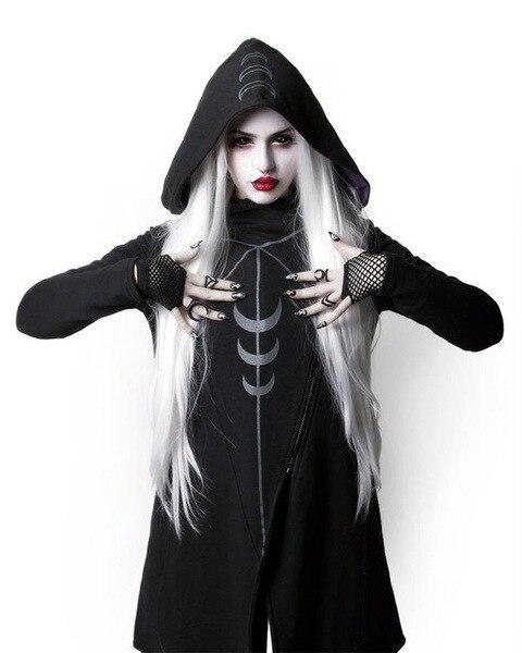 2018 Halloween Gothic Ragazze Casual Strega Luna Delle Donne Ha Stampato Nero A Maniche Lunghe Sciolto Con Cappuccio Cappotto Femminile Punk Felpe Più Il Formato