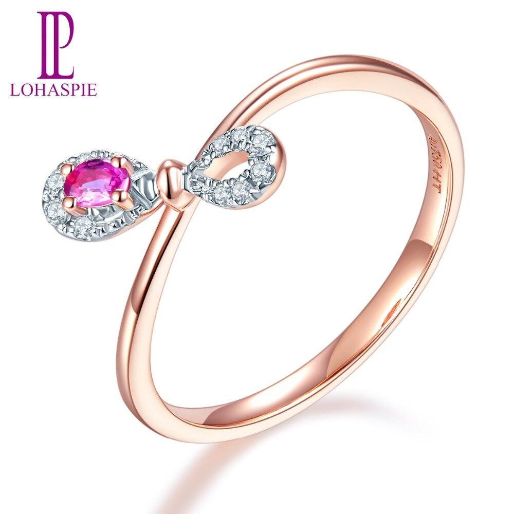 LP personnalisé 9K 10K 14K 18K Rose infiniment anneaux or naturel pierre gemme rubis et diamants bijoux fins en ligne meilleur achat cadeau