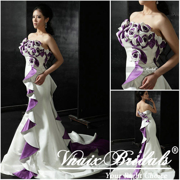 Vn006 Real Sample 2017 Strapless Satin Mermaid Purple And White Wedding Dresses In From Weddings Events On Aliexpress Alibaba Group