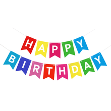 1set Paper Happy Birthday Banner Party Decorations Kids Adult Baby Boy Girl Bunting Confetti Balloons Supplies