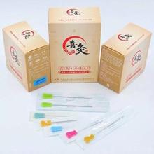 EACU aguja de acupuntura estéril descartable, hoja de mango de plástico, filo plano, 50 Uds.