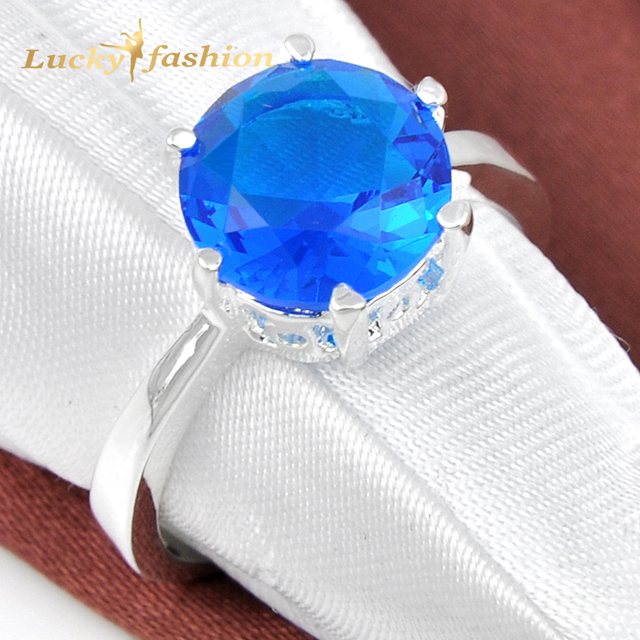 Promotion Jewelry Round Blue Created Stone Silver Plated Copper