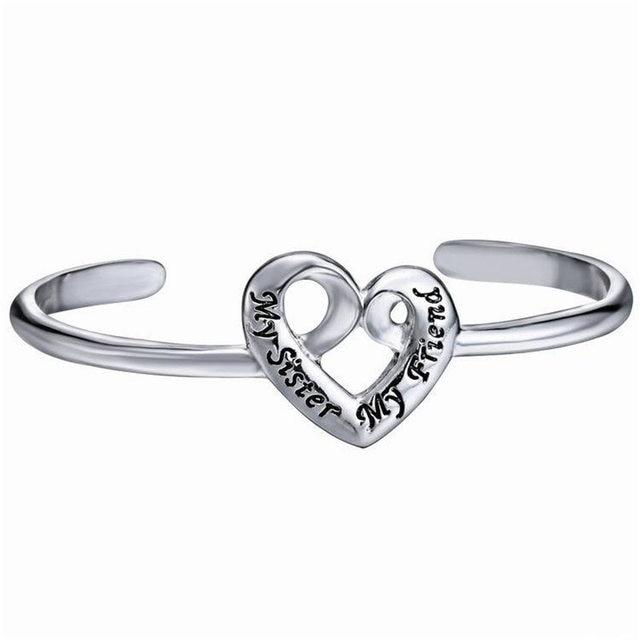 Bangles Engraved My Sister Friend Fashion Twisted Bracelet Cuff Bangle Heart Silver Bracelets