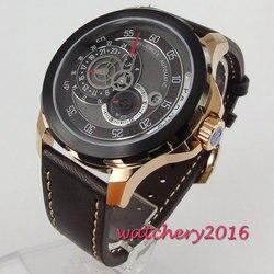 Nowy przyjeżdża PARNIS 44mm czarna tarcza różowego złota koperta szafirowe szkło kalendarz luksusowej marki Miyota mechanizm automatyczny męski zegarek