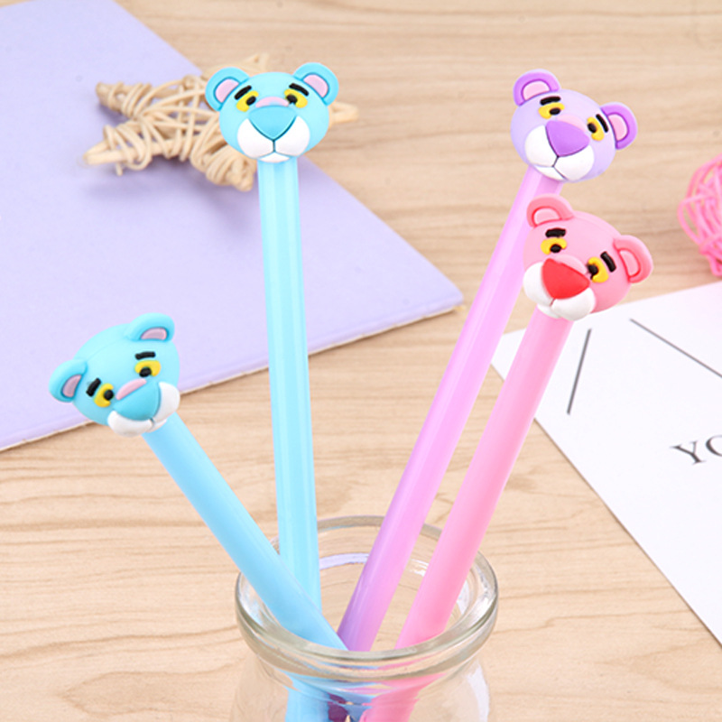 100 PCs Pink Panther Neutral Pen Cartoon Animal Tiger Head Black Water Pen Student Office Stationery