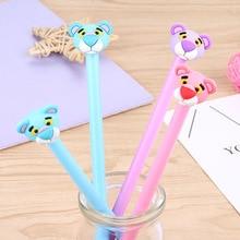 100 pçs pink panther caneta neutra dos desenhos animados animal tigre cabeça preto caneta de água escritório estudante papelaria kawaii material escolar