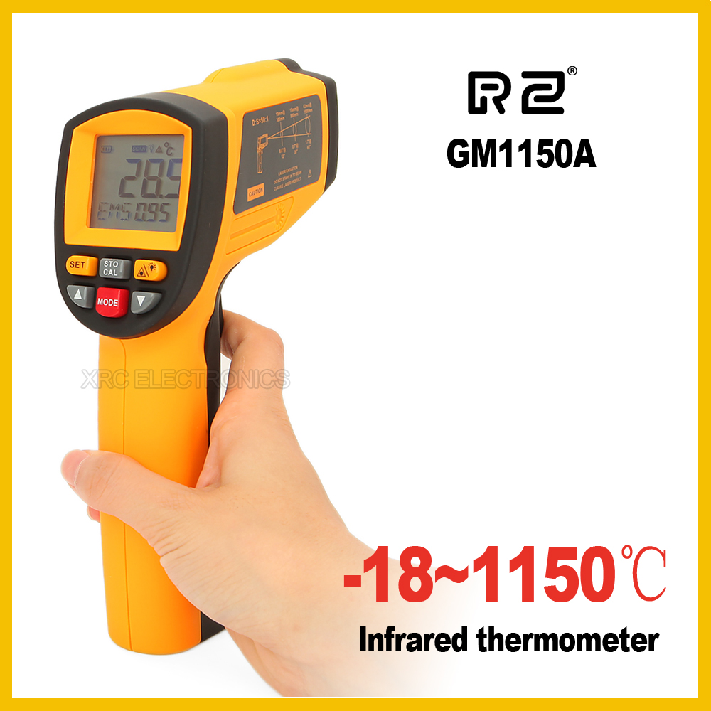 RZ GM1150A Non-Contact 50:1 LCD display IR Infrared Digital Temperature Gun Thermometer -18~1150C (0~2102F) 0.1~1.00 adjustable gm1150 non contact 12 1 lcd display ir infrared digital temperature gun thermometer 50 1150c 58 2102f 0 1 1 00 adjustable