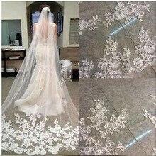 Модная Однослойная 3 метровая длинная вуаль для невесты 2020, Кружевная аппликация, Vestido de noiva Brautschleier, вуаль для свадьбы, veu de noiva longo