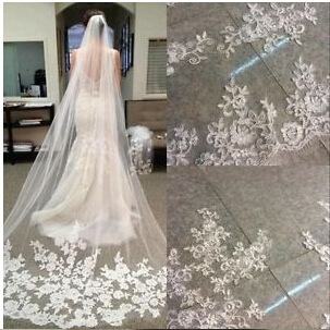Fashion One layer 3 Meter Long Bridal veil 2018 Lace Appliques Vestido de noiva Brautschleier Wedding Veil veu de noiva longo свадебное платье wedding dress v vestido noiva w1201