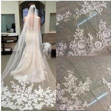 Fashion One layer 3 Meter Long Bridal veil 2020 Lace Appliques Vestido de noiva Brautschleier Wedding Veil veu de noiva longo