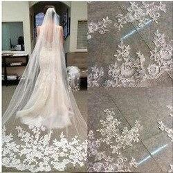 Moda uma camada 3 metro longo véu de noiva 2020 rendas apliques vestido de noiva véu de noiva
