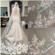 Velo de novia de una capa y 3 metros de largo, Apliques de encaje, Vestido de novia Brautschleier, velo de novia, velo de novia largo, 2020