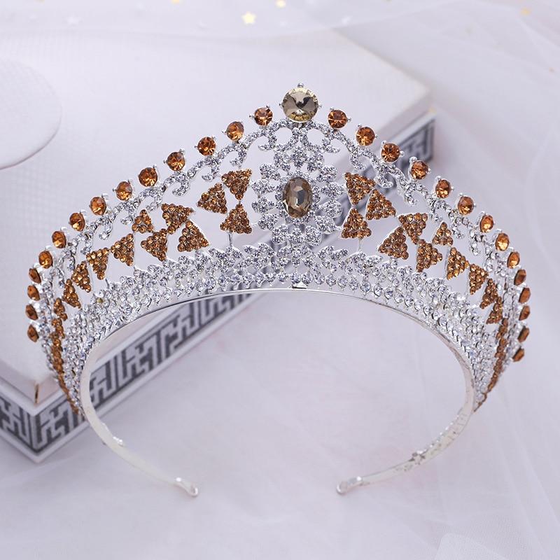 все цены на Gold Crystal Princess Pageant Crowns Silver Wedding Tiara for Bridal Wedding Hair Accessories Exquisite Rhinestone Hairbands онлайн