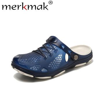 Merkmak sandały męskie letnie drewniaki męskie buty na plażę moda Slip-on stałe oddychające Outdoor Zuecos Casual kapcie męskie Hombre tanie i dobre opinie Podstawowe NONE LEISURE Mieszkanie (≤1cm) Pasuje prawda na wymiar weź swój normalny rozmiar Na co dzień Casual Summer Slippers Sandals Hole Shoes