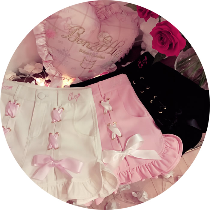 Princess Sweet Lolita Shorts BoBON21 Exclusive Design Japanese Summer Style Sweet Young Girls Lace-up High-waist Shorts B1464
