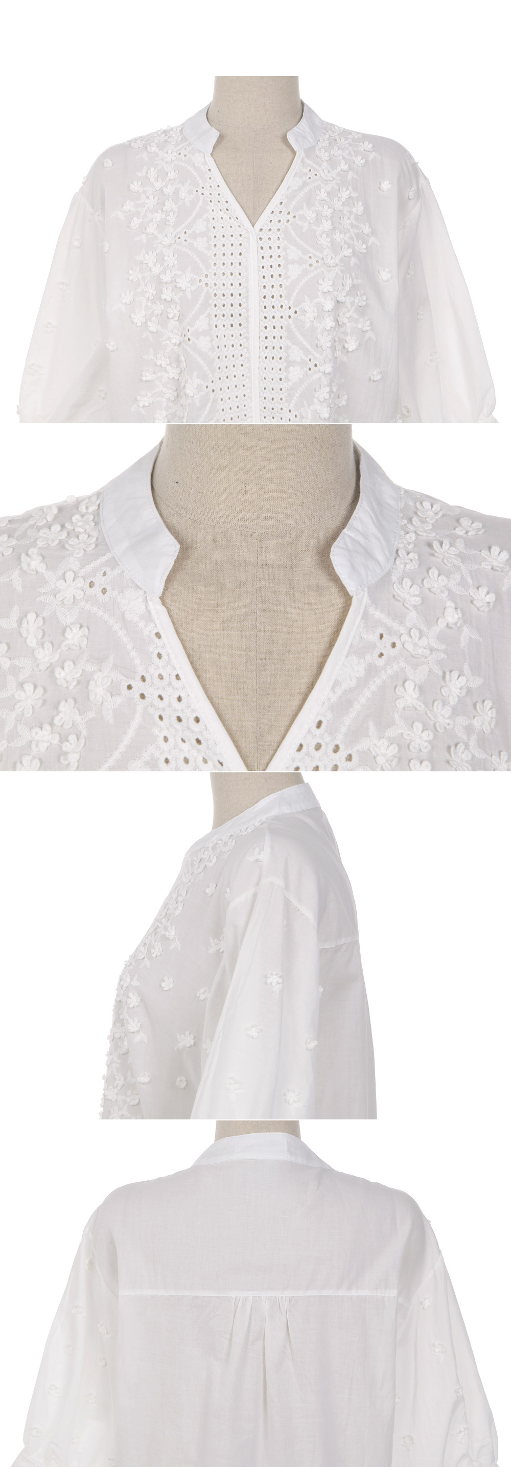 Embroidery Hollow Out V-neck Floral Office White Shirt