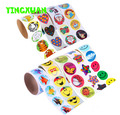 HAPPYXUAN 2 rolls(200 stickers) Cute Cartoon Paper Stickers Rolls Kids Wild Animals Smiley face Love Star Christmas Birthday