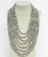 17 24 8row gray baroque pearl necklace 925 sterling silver clasp>>> women jewerly Free shipping