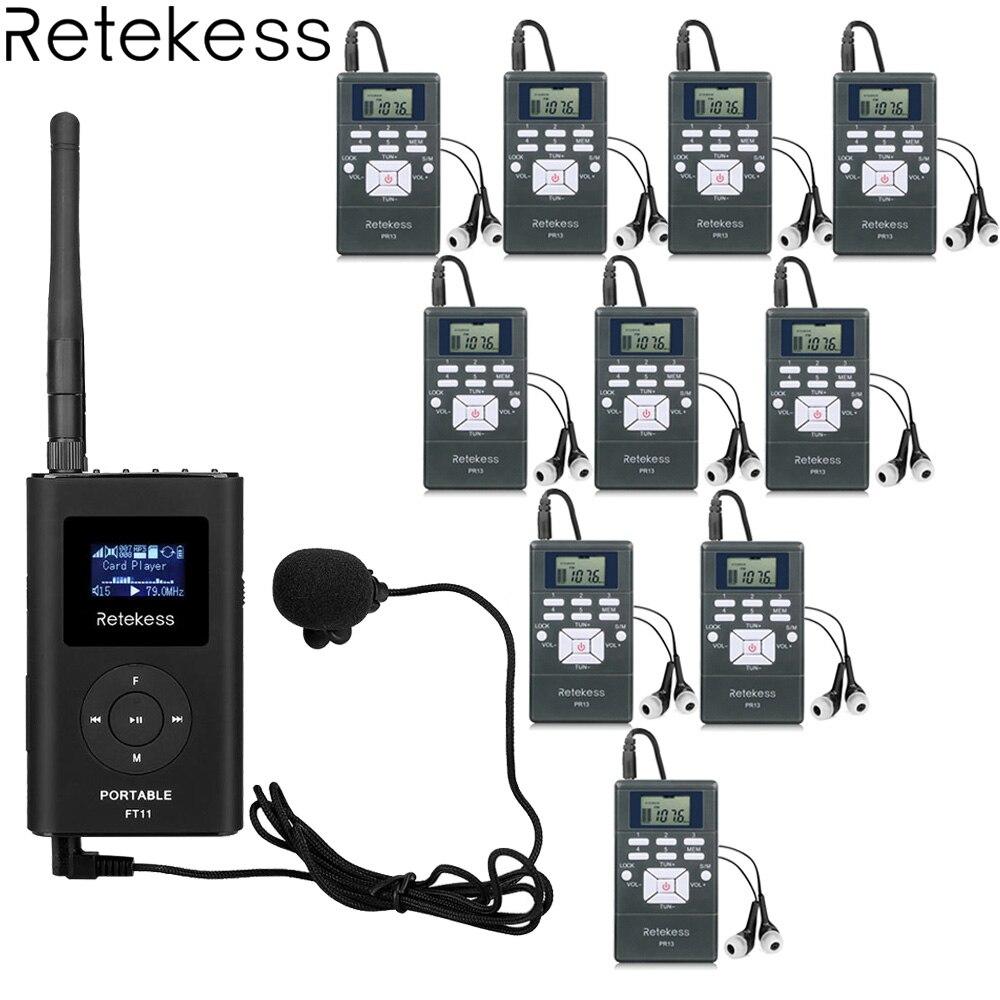 1 PR13 FT11 + 10 FM Receptor de Rádio Transmissor FM Sem Fio Sistema de Guia de Turismo para Orientar a Reunião de Interpretação Simultânea