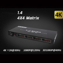 Full HD HDMI matrix 4X4 4 in 4 out HDMI1.4V Switcher Splitter 3D,4kX2K Audio Video HDTV matrix With Remote control_DHL