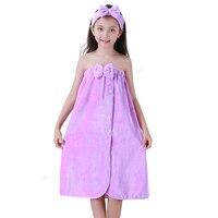 2018 new winter children's towel flannel dress girl sweet cute bow style yukata kid cute pajamas pajamas gown