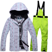 High quality Women skiing jackets sets +pants Snowboard clothes thick warm outdoorc winter Thick dress skiing jacket