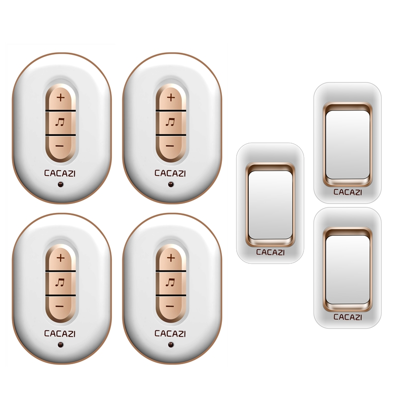 CACAZI wireless doorbell 300M remote 3 waterproof IP44 transmitters+4 AC plug-in receivers door bell 48 chime 6 volume door ring cacazi ac 110 220v wireless doorbell 1 transmitter 6 receivers eu us uk plug 300m remote door bell 3 volume 38 rings door chime