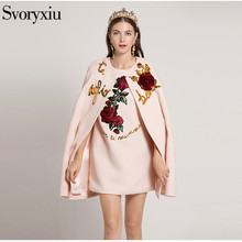 Runway Designer Autumn Winter Women Blends Coats 2 Piece Set High Quality Open Stitch Batwing Sleeve Rose Sequined Coat(China)
